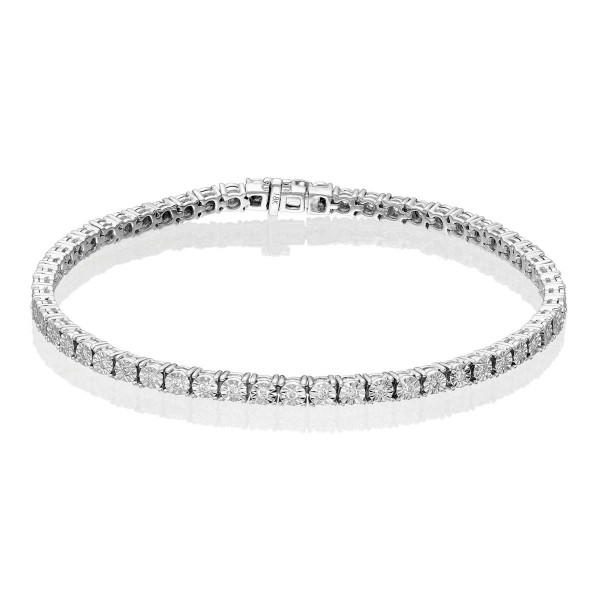Diamond Tennis Bracelet 0.50ct G/HSI Illusion Set 9K White Gold