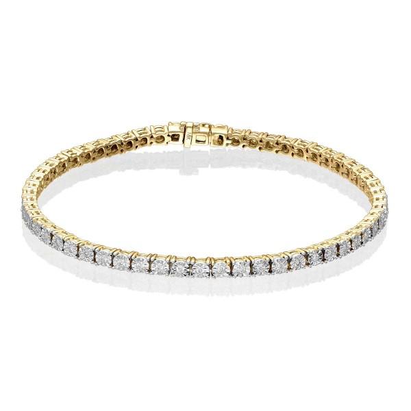 Diamond Tennis Bracelet 0.50ct G/HSI Illusion Set 9K Yellow Gold