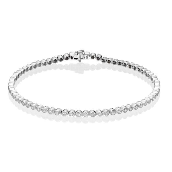 Bezel Set 0.50ct G/Hsi Diamond Tennis Bracelet In 18K White Gold