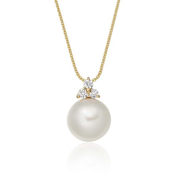 Freshwater Single Pearl Pendant 0.08ct Trilogy Diamond 18K Yellow Gold