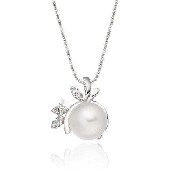 Freshwater Single Pearl Pendant Necklace 0.08ct Diamond 18K White Gold