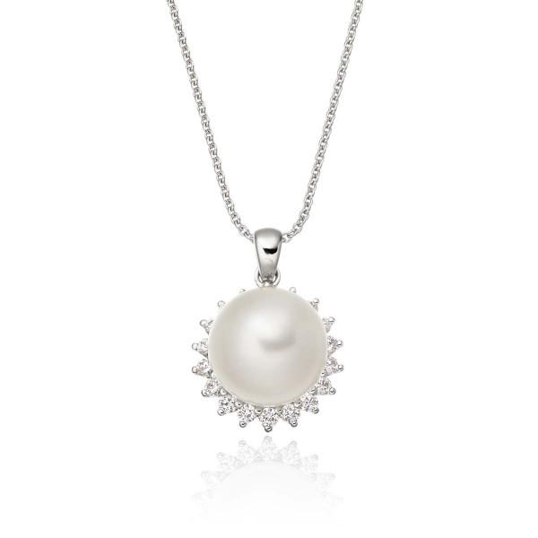 Freshwater Single Pearl Pendant 0.17ct Diamond Halo 9K White Gold