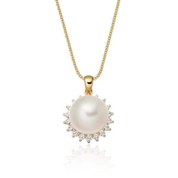 Freshwater Single Pearl Pendant 0.17ct Diamond Halo 9K Yellow Gold