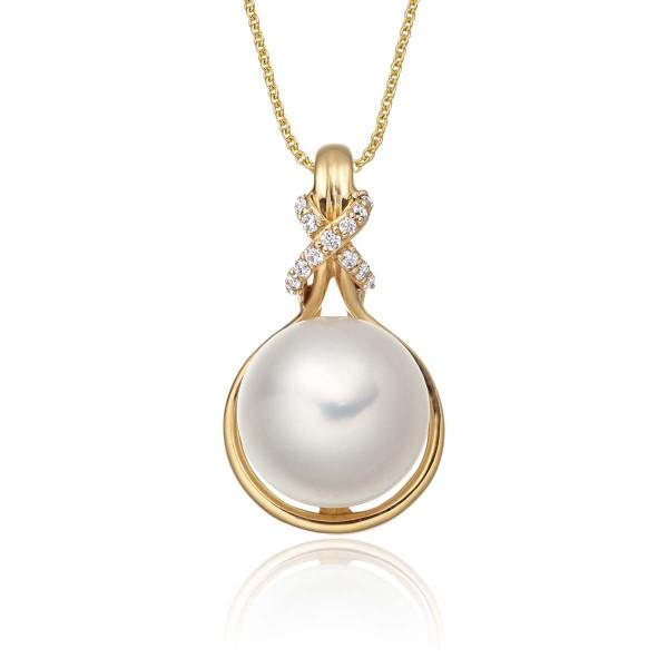 Freshwater Single Pearl Pendant 0.06ct Diamond Knot 9K Yellow Gold