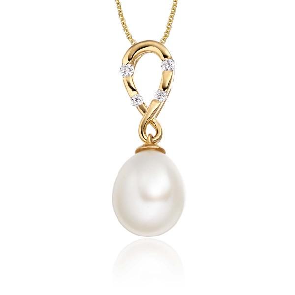 Freshwater Single Pearl Drop Pendant 0.08ct Diamond 18K Yellow Gold