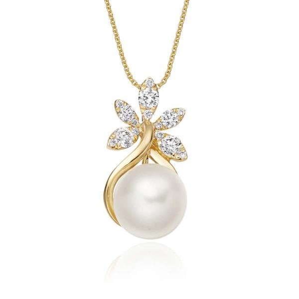 Freshwater Single Pearl Drop Pendant 0.36ct Diamond 9K Yellow Gold