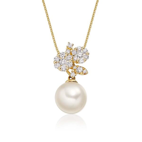 Freshwater Single Pearl Drop Pendant 0.29ct Diamond 18K Yellow Gold