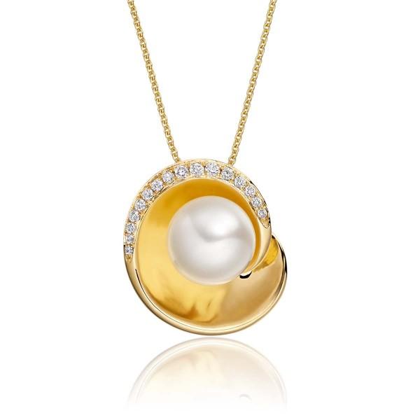 Freshwater Pearl Diamond Bowl Pendant 0.08ct Diamond 9K Yellow Gold