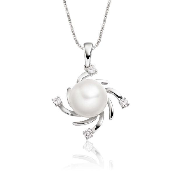 Freshwater Single Pearl Pendant 0.09ct Diamond in 9K White Gold
