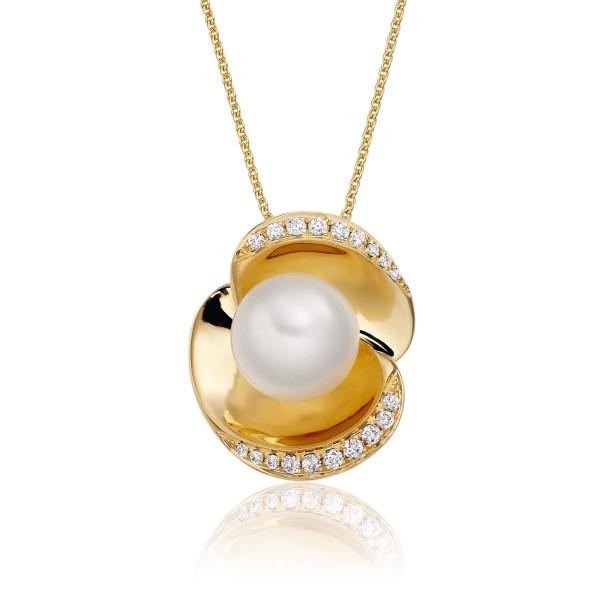 Freshwater Single Pearl Pendant 0.10ct Diamond in 18K Yellow Gold