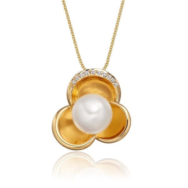 Freshwater Single Pearl Pendant 0.04ct Diamond in 9K Yellow Gold