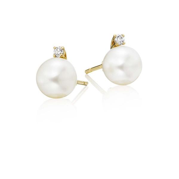 Freshwater Pearl Diamond Earrings 0.08ct Diamond 18K Yellow Gold