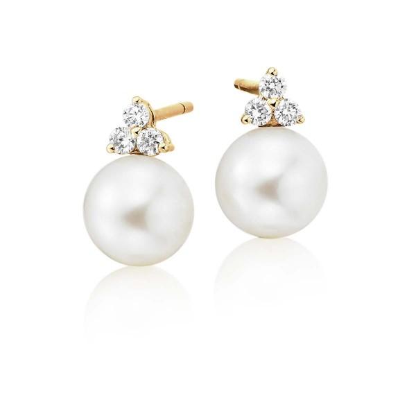 Freshwater Pearl Diamond Earrings 0.16ct Diamond 18K Yellow Gold