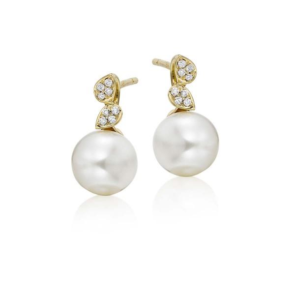 Freshwater Pearl Diamond Drop Earrings 0.06ct Diamond 18K Yellow Gold