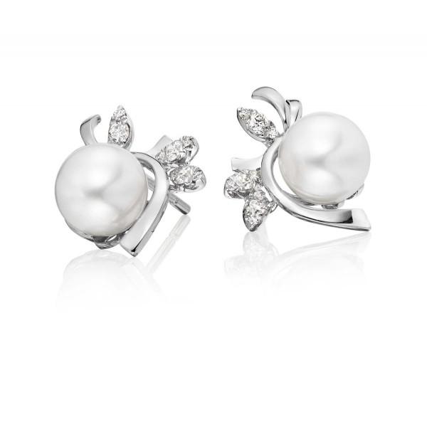 Freshwater Pearl Diamond Earrings 0.17ct Diamond 9K White Gold