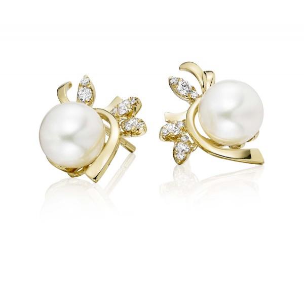 Freshwater Pearl Diamond Earrings 0.17ct Diamond 18K Yellow Gold