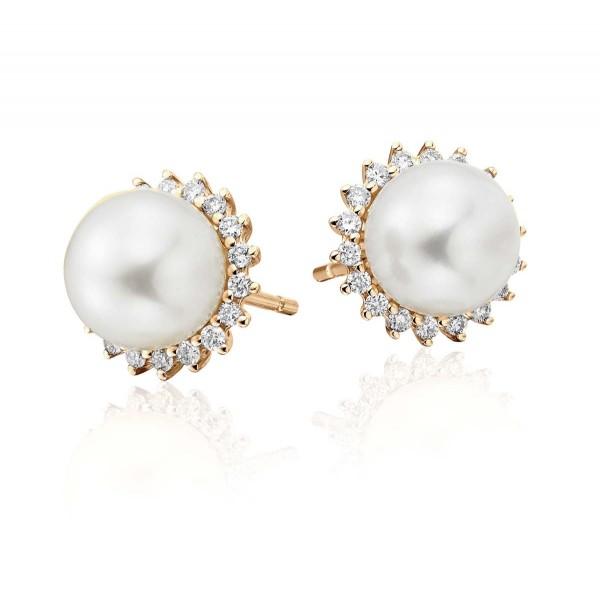 Freshwater Pearl Diamond Earrings 0.28ct Diamond 9K Yellow Gold