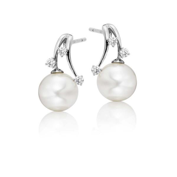 Freshwater Pearl Diamond Earrings 0.14ct Diamond 18K White Gold