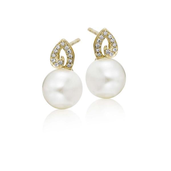 Freshwater Pearl Diamond Earrings 0.06ct Diamond 18K Yellow Gold
