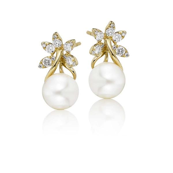 Freshwater Pearl Diamond Drop Earrings 0.47ct Diamond 9K Yellow Gold