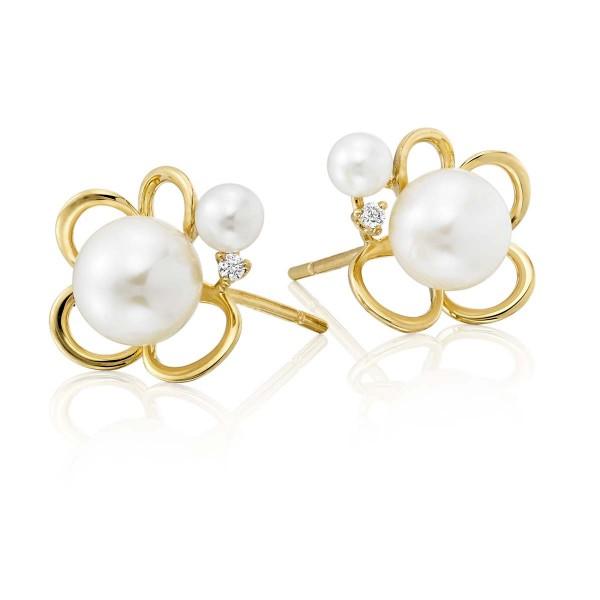 Freshwater Pearl Diamond Earrings 0.03ct Diamond 18K Yellow Gold