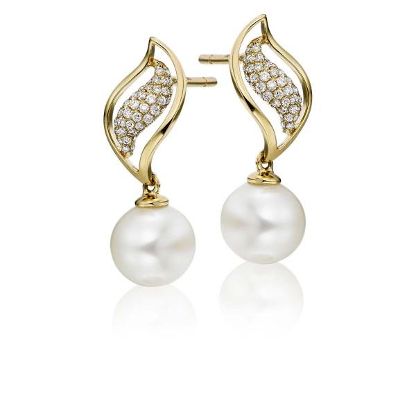 Freshwater Pearl Diamond Drop Earrings 0.25ct Diamond 18K Yellow Gold