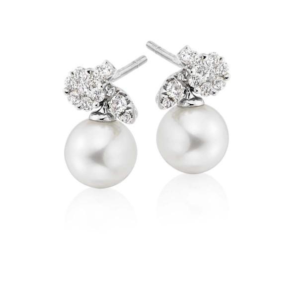 Freshwater Pearl Diamond Drop Earrings 0.27ct Diamond 18K White Gold