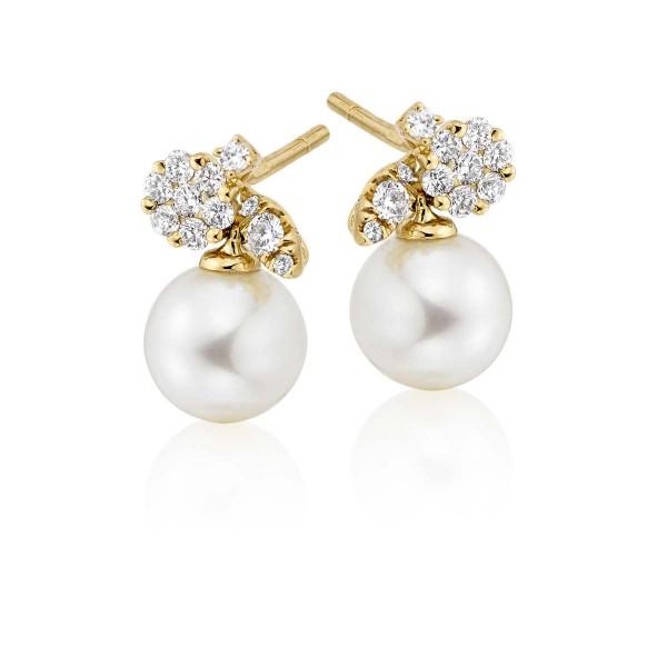 Freshwater Pearl Diamond Drop Earrings 0.27ct Diamond 9K Yellow Gold