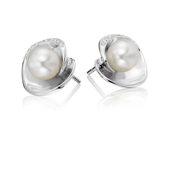 Freshwater Pearl Diamond Earrings 0.07ct Diamond 9K White Gold