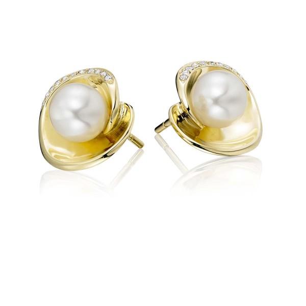 Freshwater Pearl Diamond Earrings 0.07ct Diamond 9K Yellow Gold