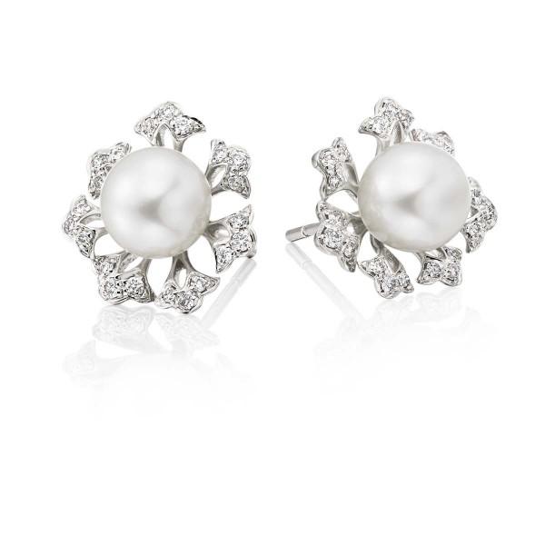 Freshwater Pearl Diamond Earrings 0.23ct Diamond 18K White Gold