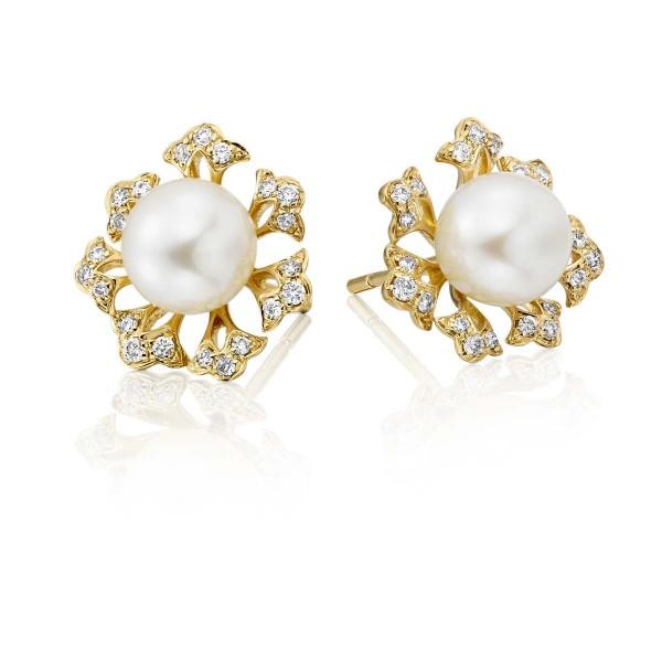 Freshwater Pearl Diamond Earrings 0.23ct Diamond 9K Yellow Gold