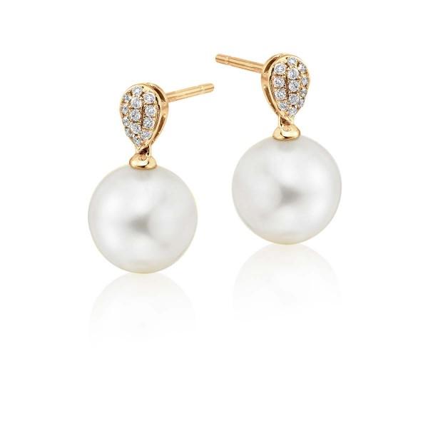 Freshwater Pearl Diamond Drop Earrings 0.10ct Diamond 18K Yellow Gold