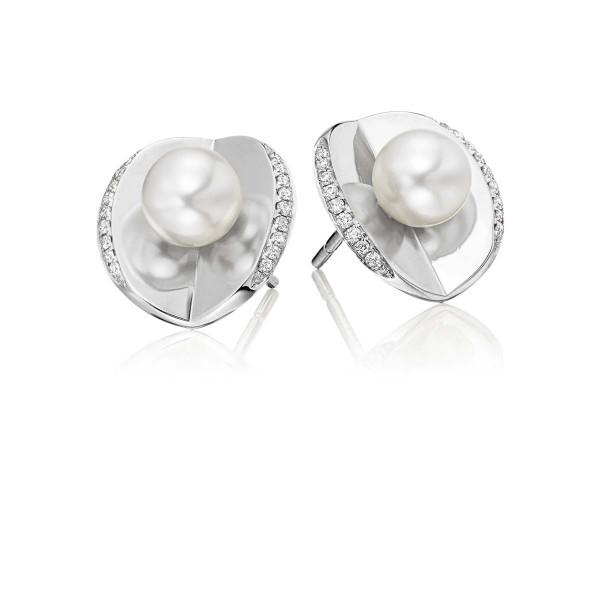 Freshwater Pearl Diamond Stud Earrings 0.13ct Diamond 9K White Gold