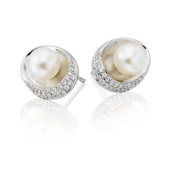Freshwater Pearl Diamond Earrings 0.20ct Diamond 9K White Gold