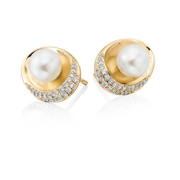 Freshwater Pearl Diamond Earrings 0.20ct Diamond 9K Yellow Gold