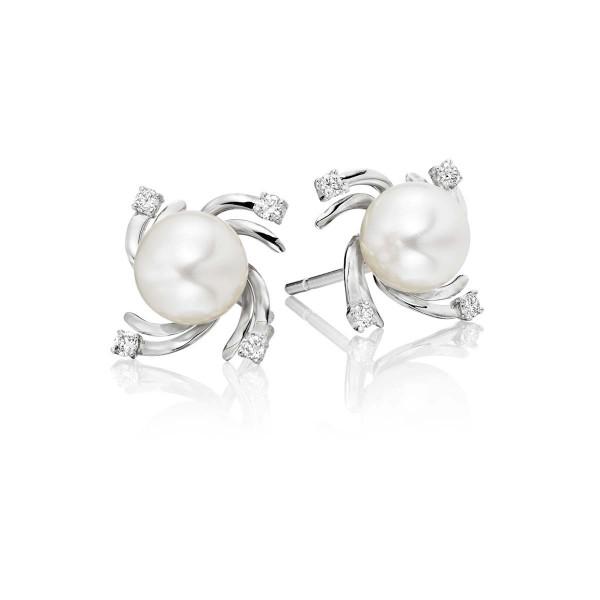Freshwater Pearl Diamond Earrings 0.12ct Diamond 18K White Gold