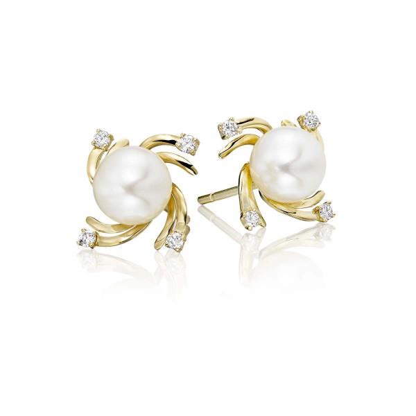Freshwater Pearl Diamond Earrings 0.12ct Diamond 9K Yellow Gold