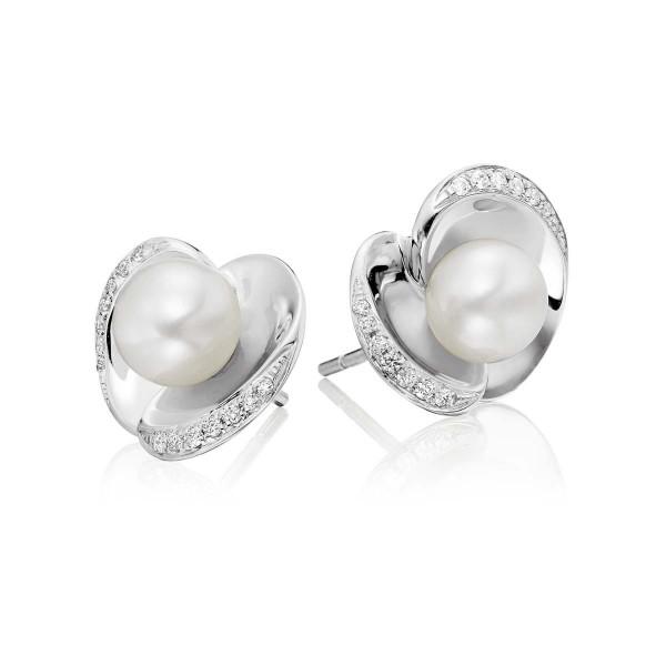 Freshwater Pearl Diamond Earrings 0.13ct Diamond 18K White Gold
