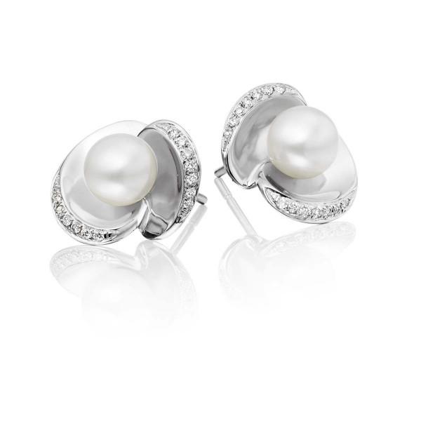 Freshwater Pearl Diamond Earrings 0.13ct Diamond 9K White Gold