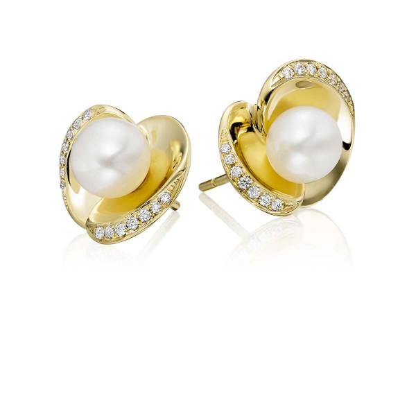 Freshwater Pearl Diamond Earrings 0.13ct Diamond 18K Yellow Gold