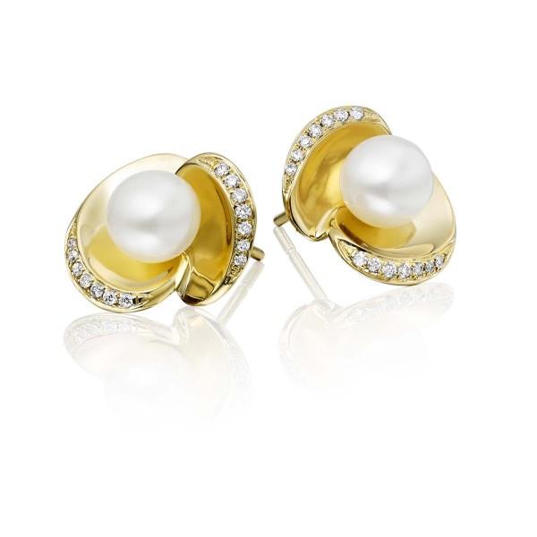 Freshwater Pearl Diamond Earrings 0.13ct Diamond 9K Yellow Gold