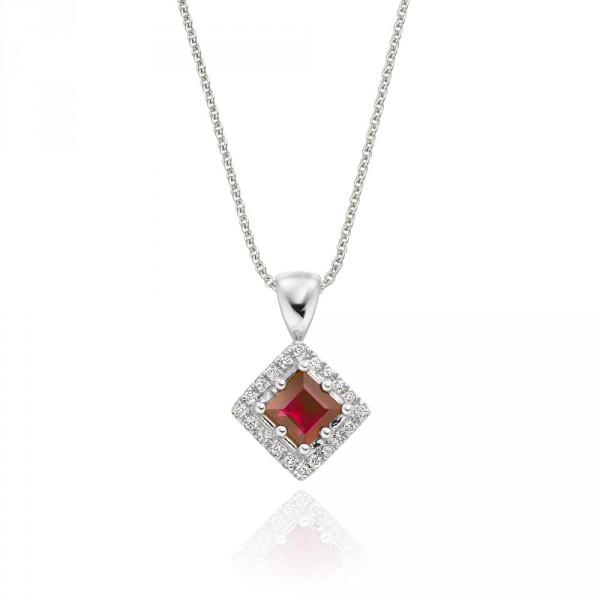 0.40ct Ruby Pendant Necklace 0.06ct Diamond 18K White Gold
