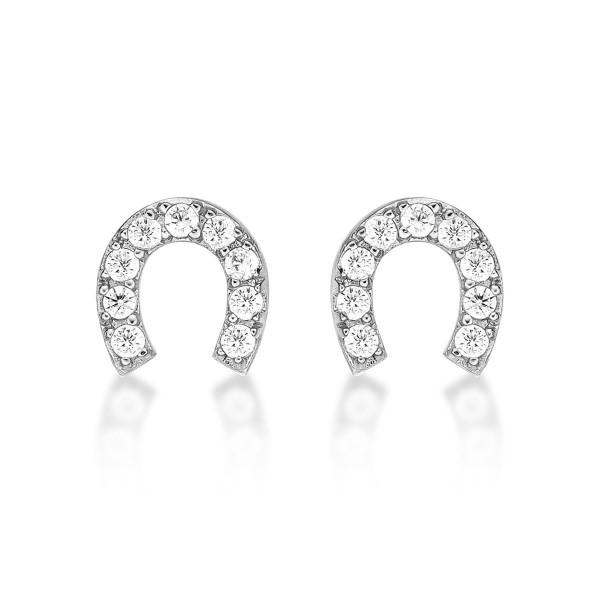 Sterling Silver Lucky Horseshoe Earrings Cubic Zirconia