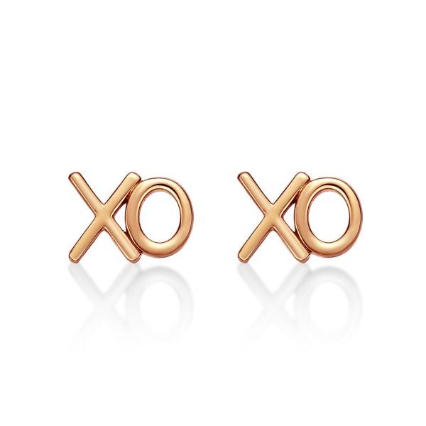 """Rose Gold Plated Sterling Silver XO """"Hugs & Kisses"""" Earrings"""