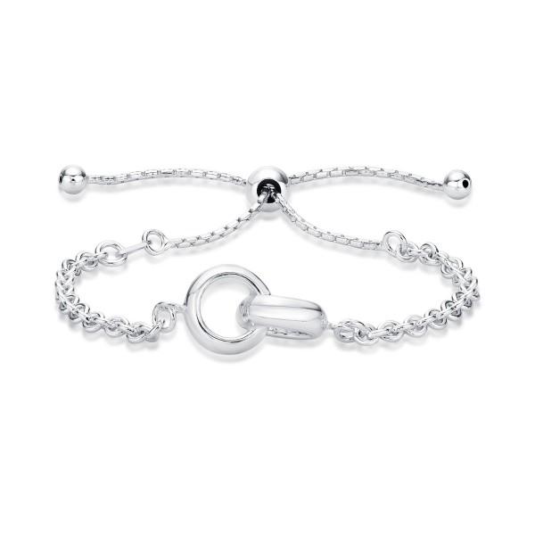 Ladies Sterling Silver Interlocking Rings Bracelet