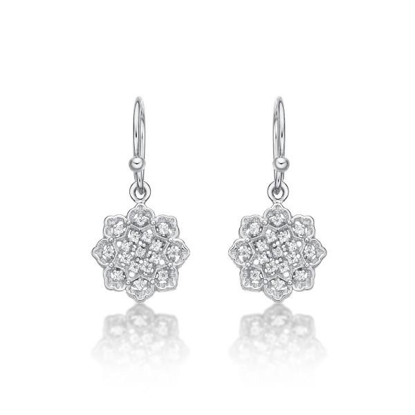 Sterling Silver Flower Drop Earrings with Cubic Zirconia