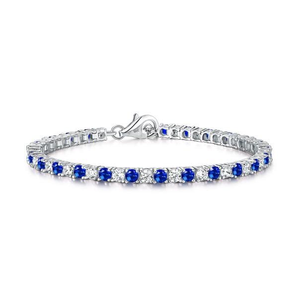 Sterling Silver Tennis Bracelet 3mm Blue & White Cubic Zirconia