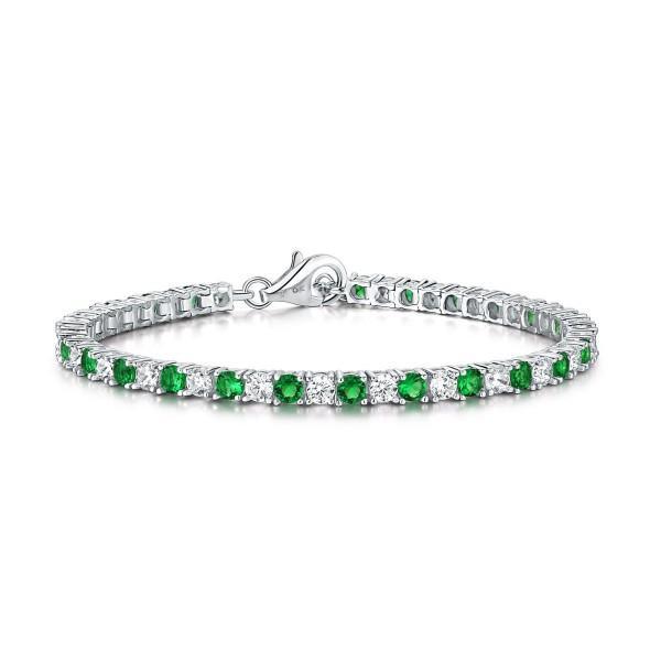 Sterling Silver Tennis Bracelet 3mm Green & White Cubic Zirconia