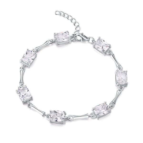 Sterling Silver Bracelet for Women Radiant Cut White Cubic Zirconia